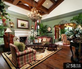 美式乡村客厅装修效果图片大全2014图片