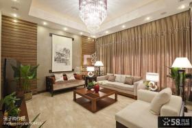 新中式客厅沙发窗帘图片