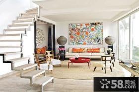 瑞典北欧风格复式楼客厅装修效果图大全2012图片