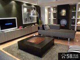 80平米小户型客厅电视墙装修效果图