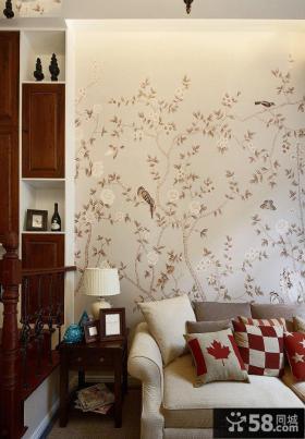新中式客厅墙纸效果图