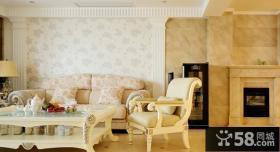 欧式客厅沙发壁纸背景墙效果图