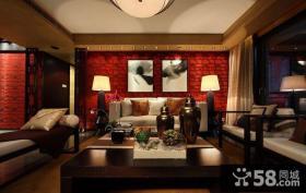 红色新中式客厅装潢欣赏