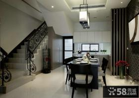 复式样板房餐厅厨房装修效果图