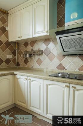 美式风格大理石厨房橱柜效果图