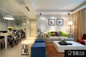 现代简约家庭客厅装修实景图