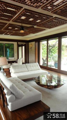 中式古典实木吊顶装修