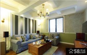美式乡村120平米三居客厅水晶吊灯图片